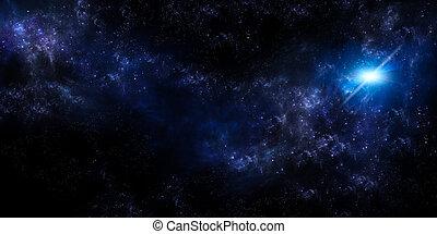 cielo estrellado, plano de fondo, panorámico