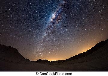 cielo estrellado, y, vía láctea, arco, con, detalles, de,...
