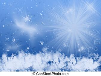 cielo, estrellas, plano de fondo, noche