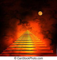 cielo, fin, escalera, túnel, primero, luz, hell., o