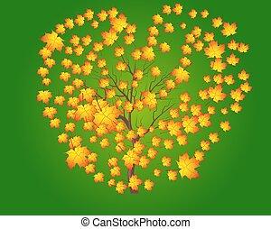 cielo, foglie, albero, contro, autunno, luminoso, vettore, verde, acero