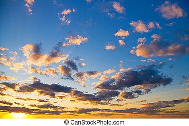 cielo, fondo, a, tramonto