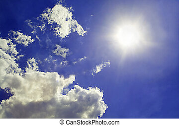 cielo, fondo., sol, y, nubes, plano de fondo, 2
