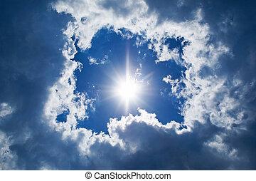 cielo, fondo., sol, y, nubes, plano de fondo