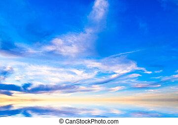 cielo, fondo, su, tramonto