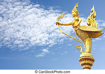 cielo, garuda, statua, oro