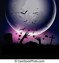 cielo, halloween, contro, zombie, fondo, mani, illuminato dalla luna, 0209