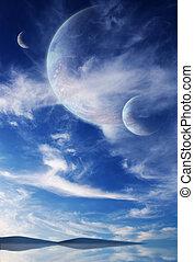 cielo, in, straniero, pianeta