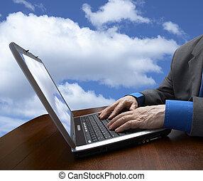 cielo, laptop, uomo affari