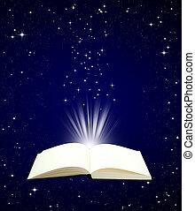 cielo, libro, magia, aperto, notte
