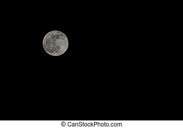 cielo, Lleno, negro, luna