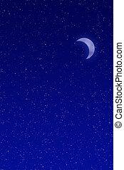 cielo, luna, creciente, estrellas, noche, llenado