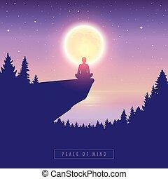 cielo luna, stellato, mente, pieno, lago, persona, pace
