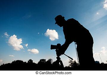 cielo, macchina fotografica, silhouette, fondo, uomo
