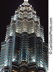 cielo, malasia, distinguida, petronas, kuala, noche, torre,...