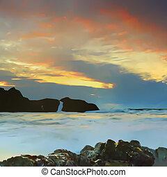 cielo, mar, y, montañas, fondo., vector