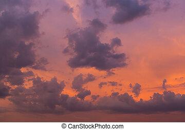 cielo, meraviglioso, tramonto, fondo, crepuscolo, nuvola