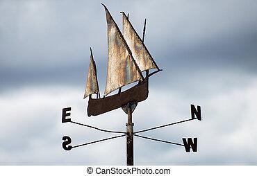 cielo, metálico, fondo., veleta, barco