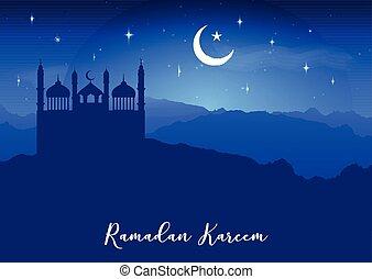 cielo, moschea, ramadan, contro, silhouette, fondo, notte, kareem