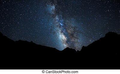 cielo, noche, brillante, manera, estrellas, lechoso, galaxia