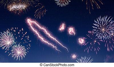 cielo notte, con, fireworks, modellato, come, nuovo,...