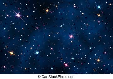cielo notte, con, stelle