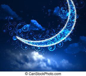 cielo notte, fondo, con, luna stelle