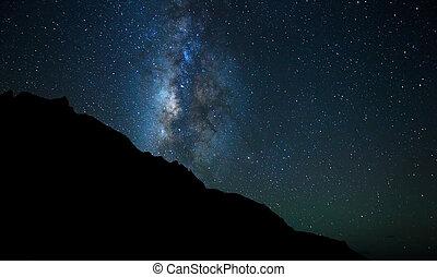 cielo notte, luminoso, stelle, e, via lattea, galassia