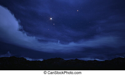 cielo notte, pieno, con, stars.