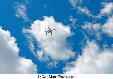 cielo, nubes, avión