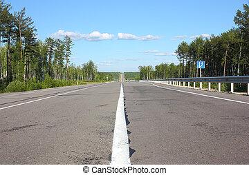 cielo, nubes, camino, asfalto