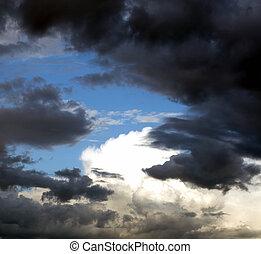 cielo, nubes, sol