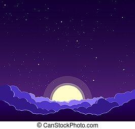 cielo, nubi, notte