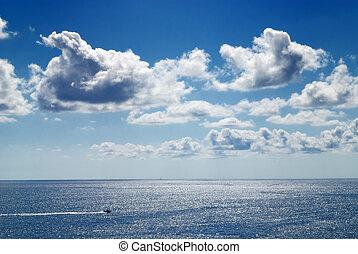 cielo nublado, y, mar