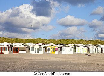 cielo, nuvoloso, case, olandese, spiaggia, vista