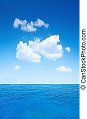 cielo nuvoloso, e, oceano