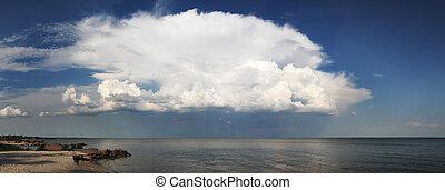 cielo, nuvoloso, sopra, mare