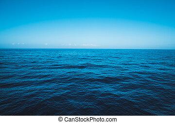 cielo, oceano, marina, blu, orizzonte