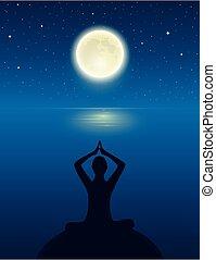 cielo, oceano, yoga, persona, pieno, meditare, silhouette, luna, stellato