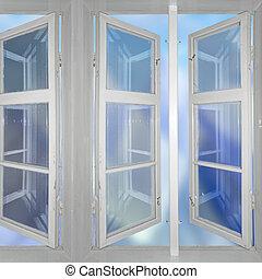 cielo, osservato, attraverso, windows