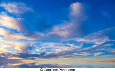 cielo, plano de fondo, en, ocaso