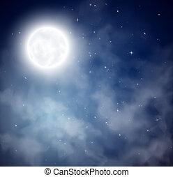 cielo, plano de fondo, noche