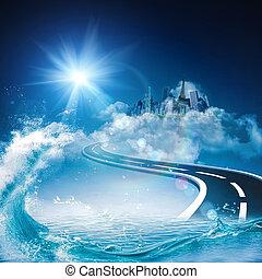 cielo, resumen, fondos, ambiental, diseño, su, camino