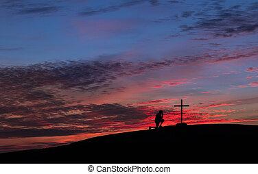 cielo rojo, cruz