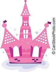 cielo rosa, aislado, princesa, castillo, blanco