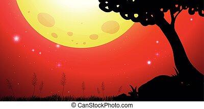 cielo, silhouette, scena, rosso, luna