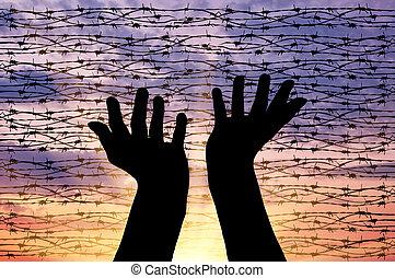 cielo, silueta, extendido, manos