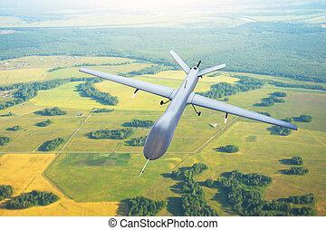 cielo, sobre, mosca, patrullar, tracking., avión, terreno, ...