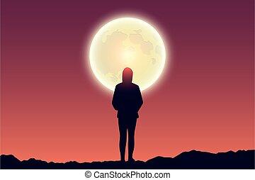 cielo, solitario, paesaggio, rosso, pieno, ragazza, luna