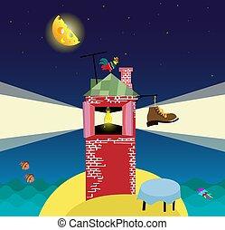 cielo stellato, mare, notte, cartone animato, paesaggio, faro